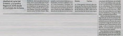 La pintora Perla Fuertes diseñará el cartel del Entierro, y la Sardina llegará en 2019 desde el municipio de Archena